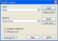 Znajdź i zamień - Openoffice Write
