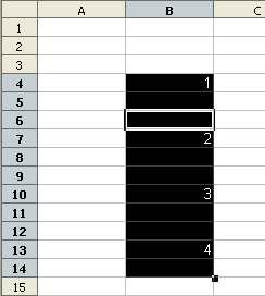 Numeracja z odstępem - Openoffice Calc